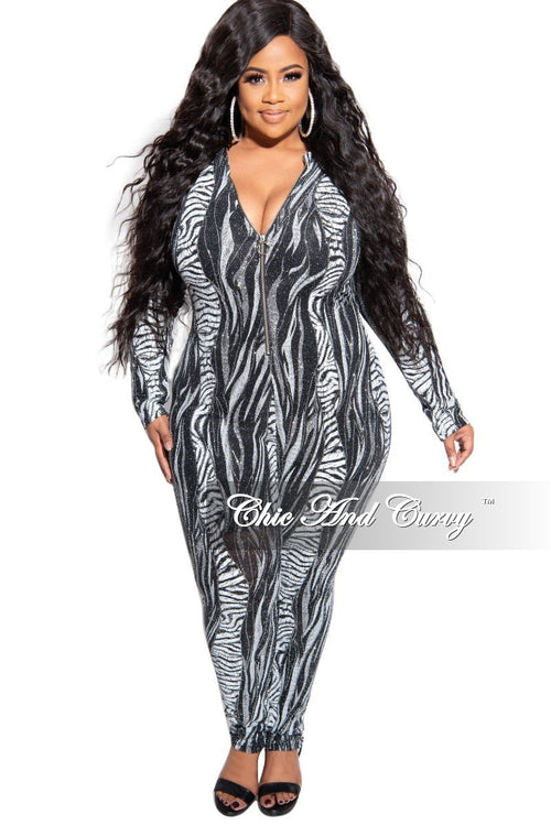 Final Sale Plus Size Zip-Up Glitter Jumpsuit in White Black and Silver