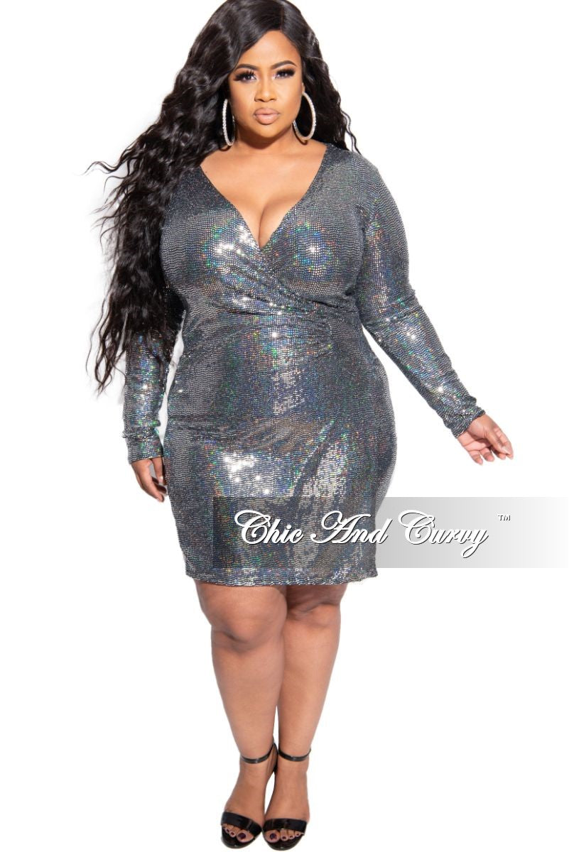 Final Sale Plus Size Long Sleeve Faux Wrap Sequin BodyCon Dress in Silver