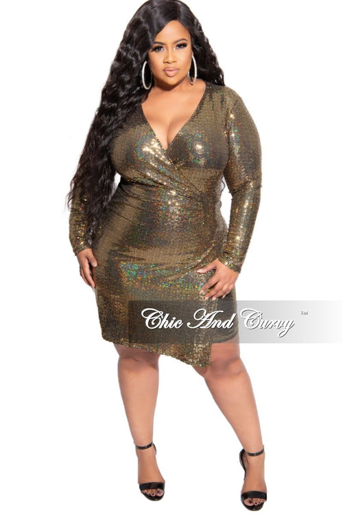 Final Sale Plus Size Long Sleeve Faux Wrap Sequin BodyCon Dress in Gold