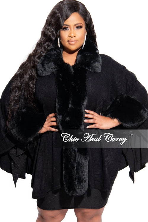 New Plus Size Coat with Faux Fur Collar and Cuff in  Black