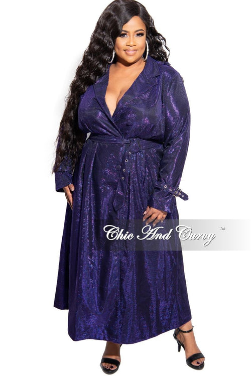 Final Sale Plus Size Metallic Collar Dress / Trench Coat with Belt in Purple