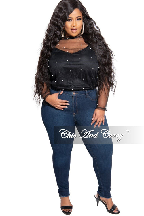 Final Sale Plus Size Long Sleeve Pearl Mesh Top in Black