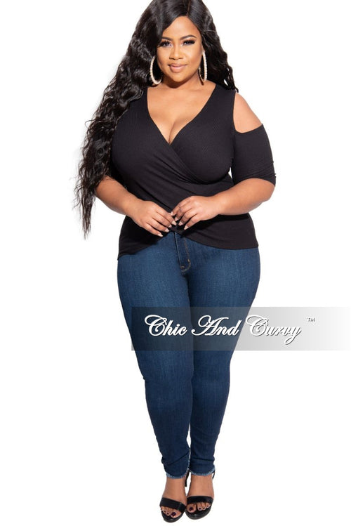 New Plus Size Colder Shoulder Ribbed Top with Crisscross Front in Black