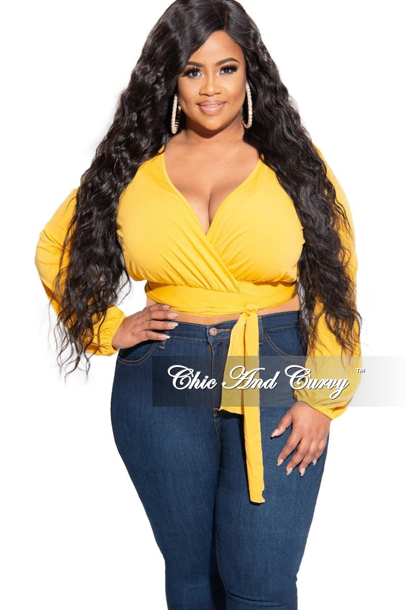 New Plus Size Faux Wrap Tie Top Yellow