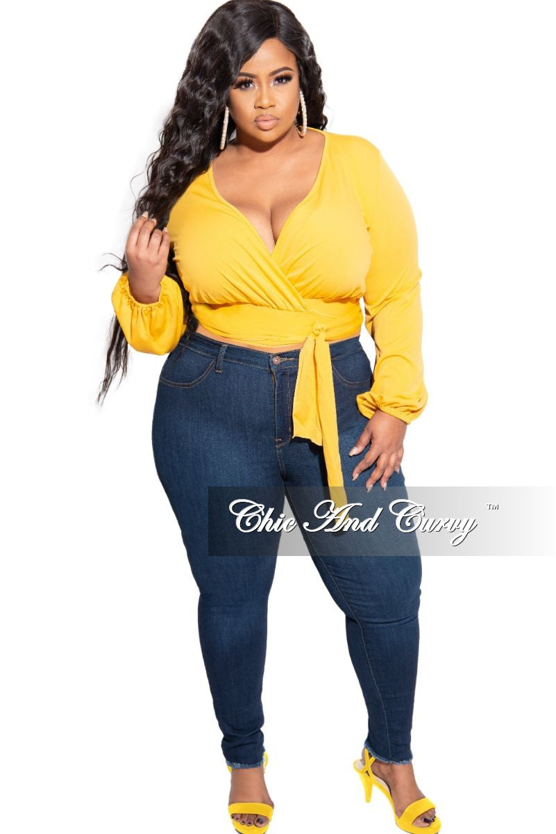 New Plus Size High Waist Denim Jeans in Dark Blue