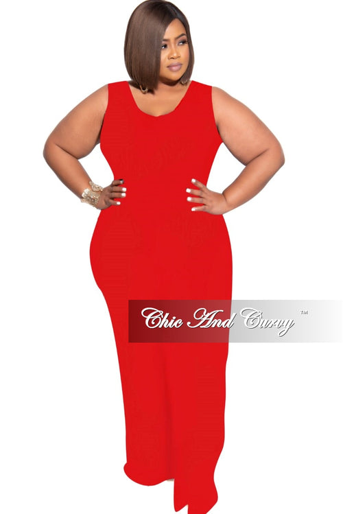 New Plus Size Sleeveless Pocket Jumpsuit in Red