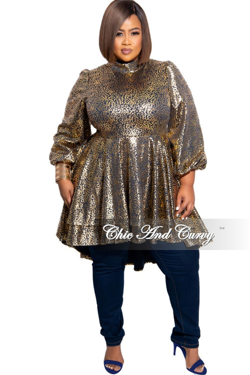 Final Sale Plus Size Gold Foil High Low Dress/Tunic in Navy and Gold Design Print