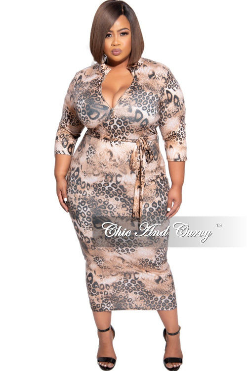 New Plus Size Foiled BodyCon Midi Dress with Tie in Rust & Black Animal Print