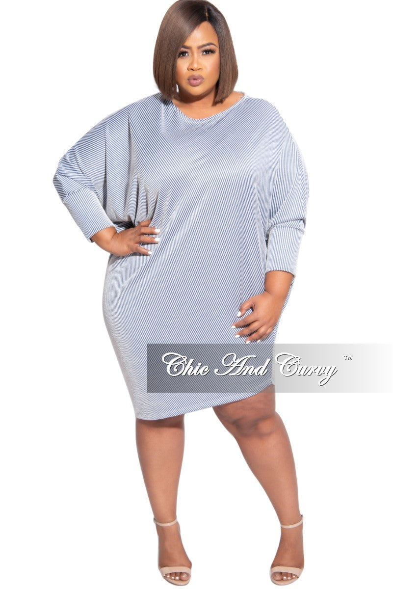 New Plus Size Off the Shoulder 3/4 Sleeve Dress in Blue and White Stripes