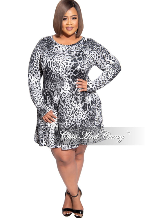 New Plus Size Baby Doll Swing Dress in Animal Print