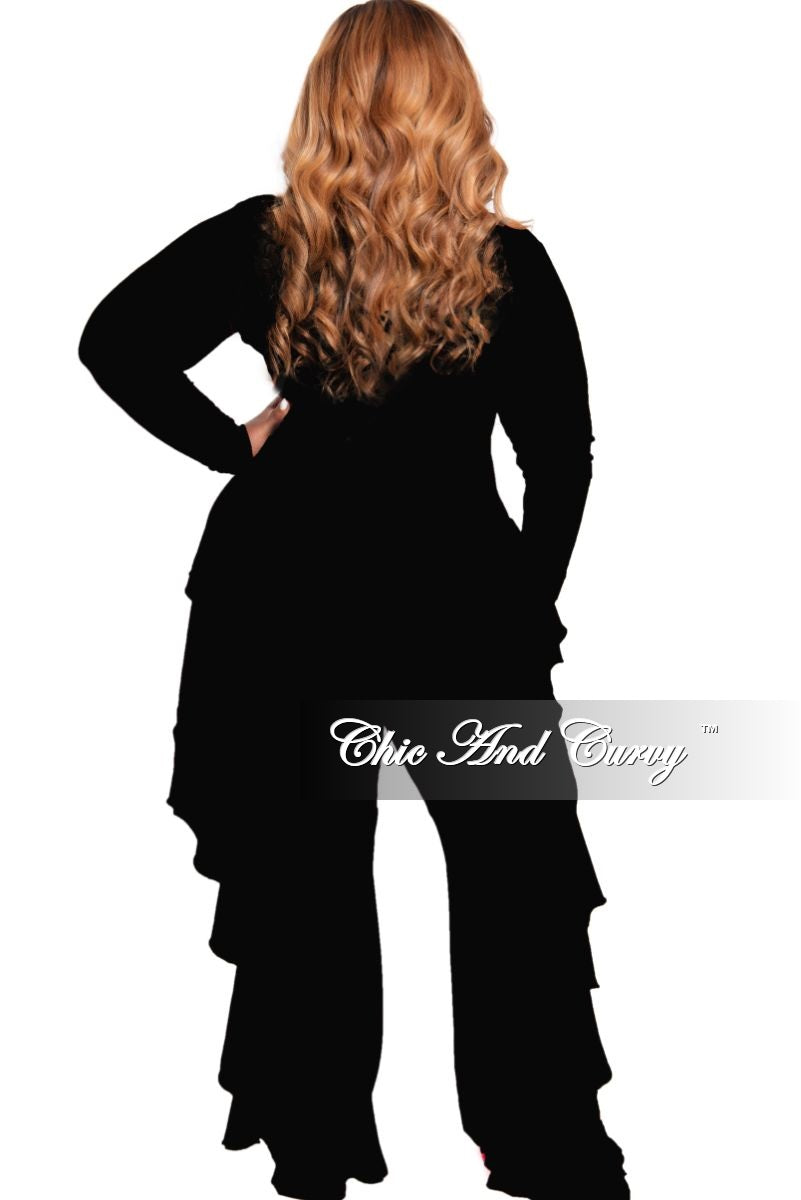 New Plus Size Reversible Ribbed Side Ruffle Jumpsuit in Black