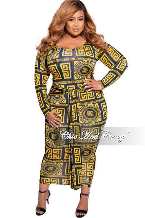New Plus Size Midi BodyCon Dress with Attached Tie in Blue & Yellow Maze Print