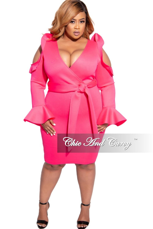 Final Sale Plus Size Faux Wrap Cold Shoulder Ruffle Trim Scuba Dress with Tie in Neon Pink