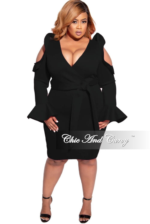 Final Sale Plus Size Faux Wrap Cold Shoulder Ruffle Trim Scuba Dress with Tie in Black