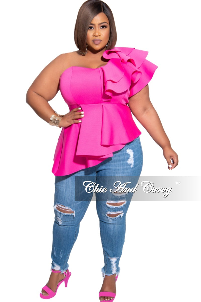 Final Sale Plus Size Scuba Ruffle Shoulder Peplum Top in Pink
