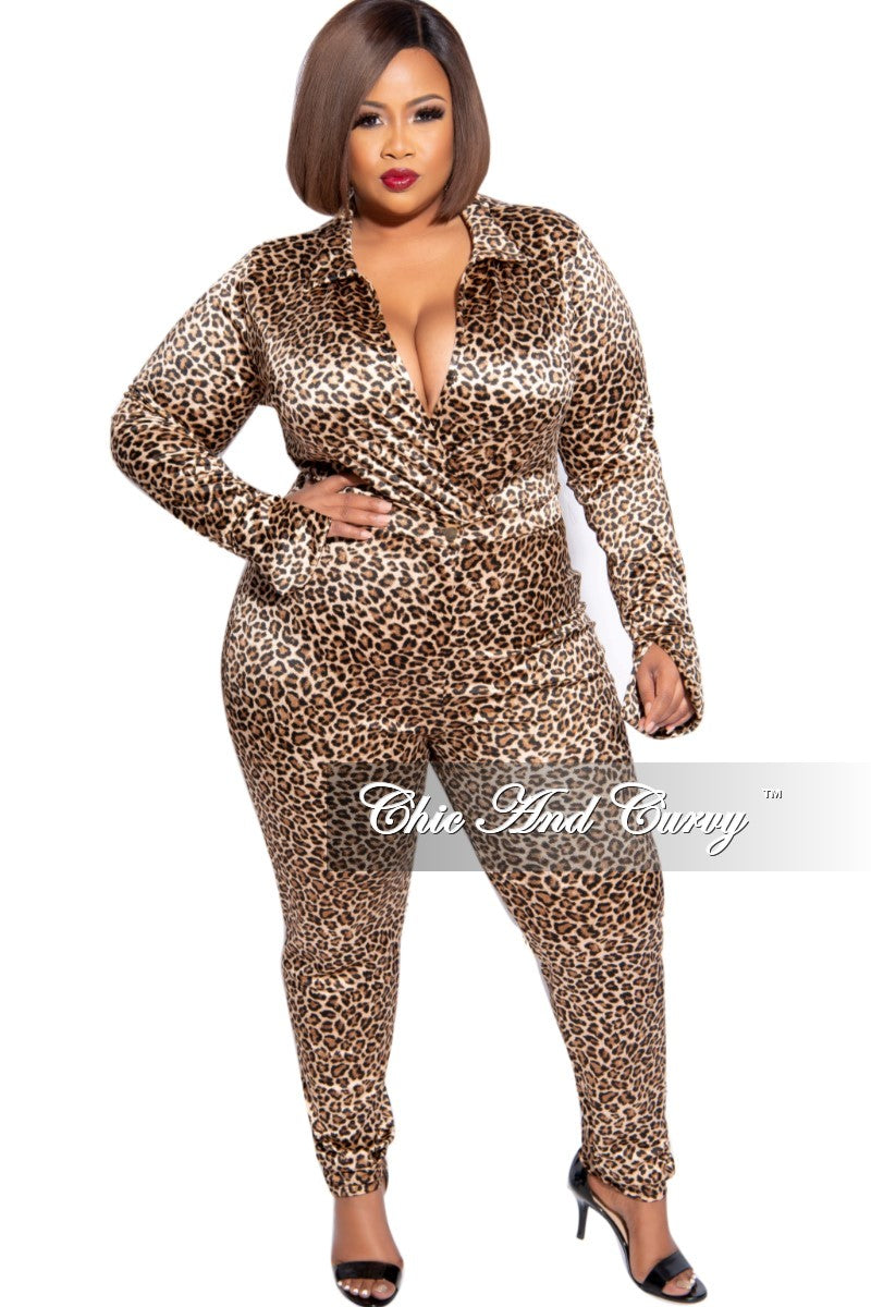 Final Sale Plus Size 2-Piece Satin Collared Faux Wrap Bodysuit and Pants Set in Animal Print