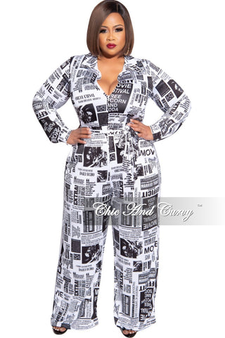 Final Sale Plus Size Chiffon Off the Shoulder Tie Jumpsuit in Navy and White Stripe Print