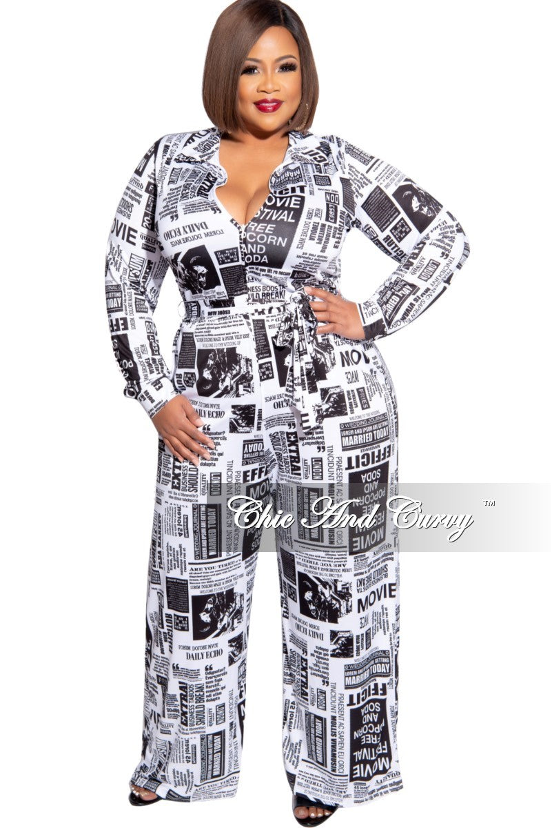 Final Sale Plus Size Collared Zip Jumpsuit with Belt in Black and White News Print