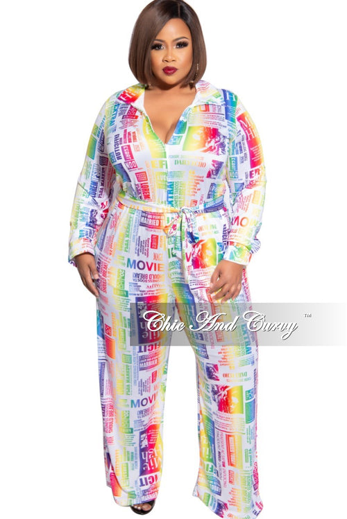 Final Sale Plus Size Collared Zip Jumpsuit with Belt in Multi-Color News Print