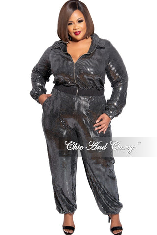 Final Sale Plus Size Collared Button Drawstring Jumpsuit with Back Gold Chains in Black