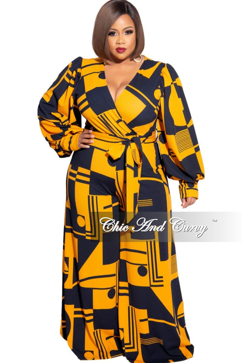 Final Sale Plus Size Faux Wrap Tie Jumpsuit in Navy and Mustard Design Print