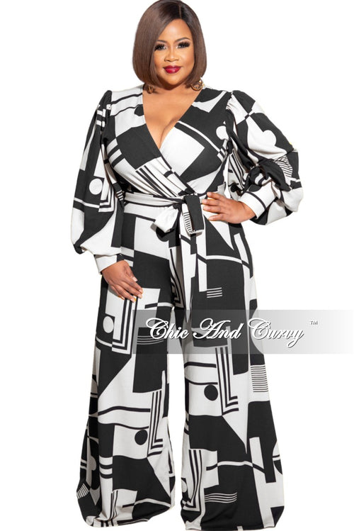Final Sale Plus Size Faux Wrap Tie Jumpsuit in Black and White Design Print