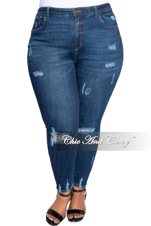 Final Sale Plus Size Spot Distressed Jean in Denim