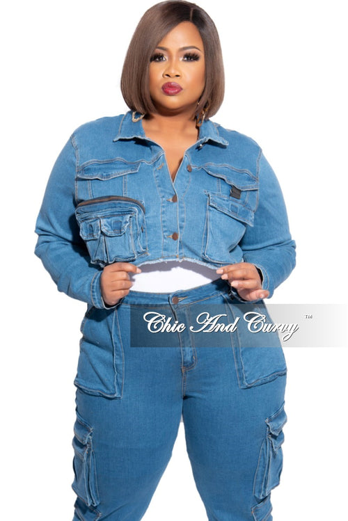 New Plus Size Crop Cargo Jacket in Denim