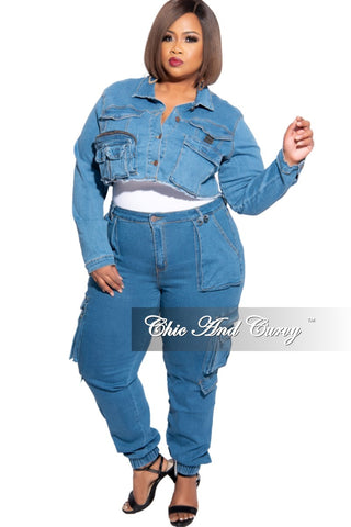 New Plus Size 2-Piece Faux Denim Set in Sapphire