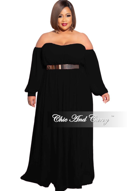 Final Sale Plus Size Chiffon Off the Shoulder Maxi with Attached Belt in Black