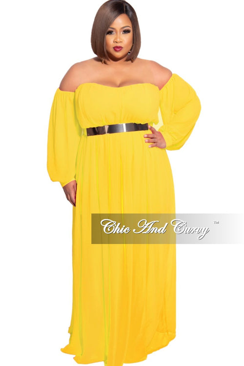 Final Sale Plus Size Chiffon Off the Shoulder Maxi with Attached Belt in Yellow