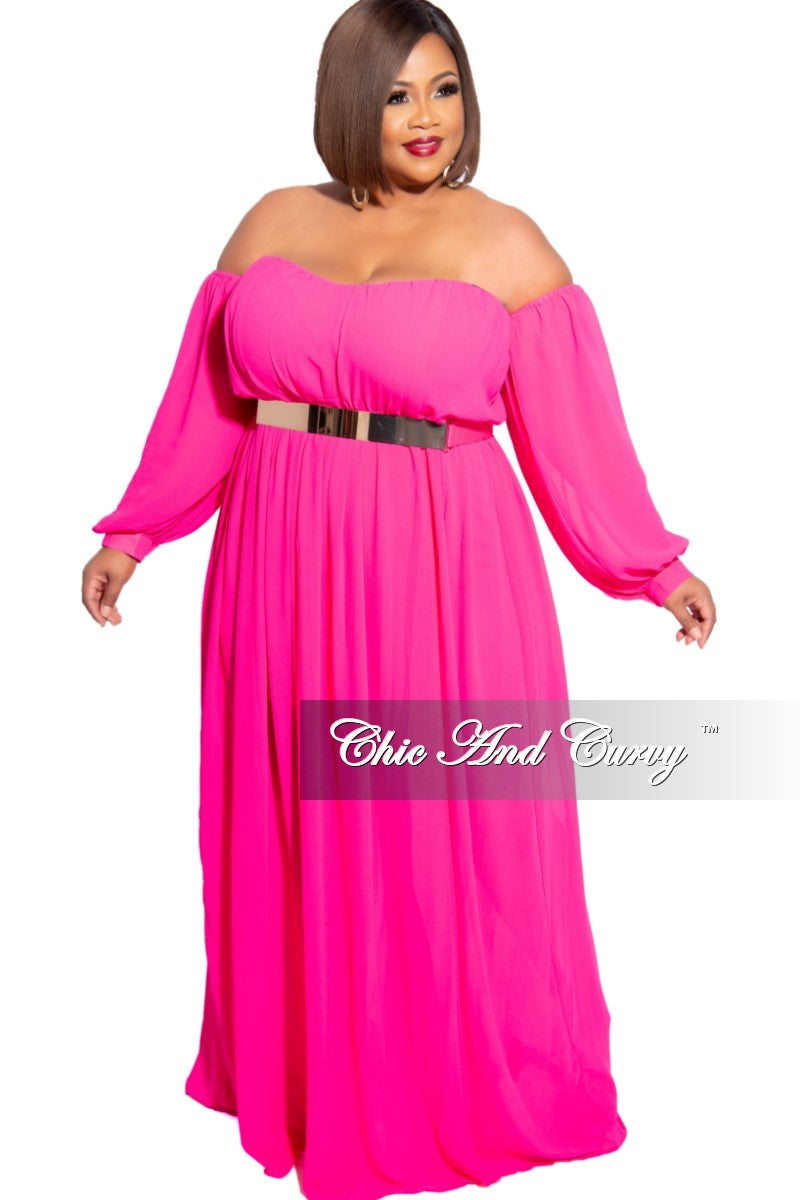Final Sale Plus Size Chiffon Off the Shoulder Maxi with Attached Belt in Hot Pink