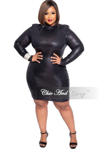 Final Sale Plus Size Metallic Faux Wrap BodyCon Dress with 3/4 Cuff Sleeves and Tie in Gold