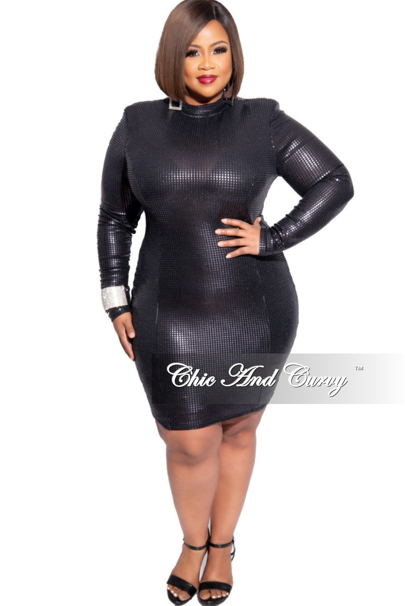 Final Sale Faux Sequin Mock Neck BodyCon Dress in Black
