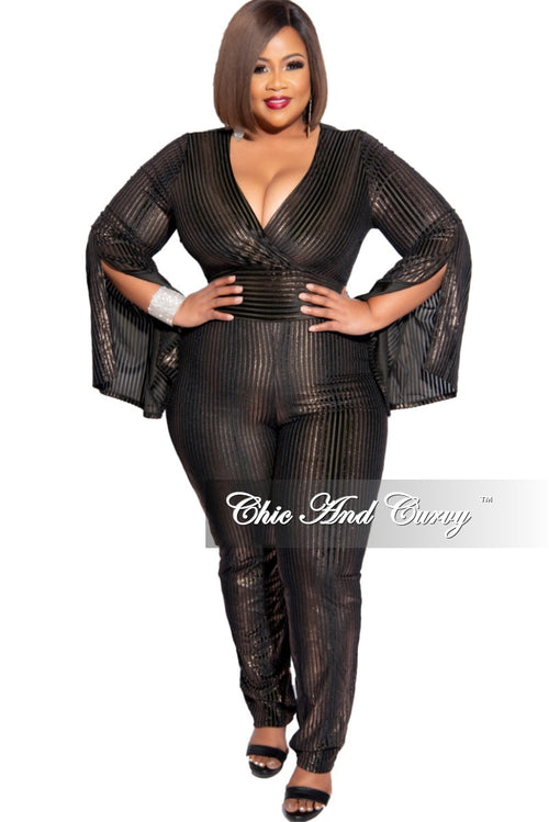 Final Sale Plus Size Ribbed Split Bell Sleeve Jumpsuit in Brown and Gold