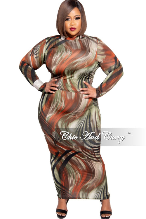 New Plus Size 2-Piece Mock Neck Top and Pencil Maxi Skirt Set in Olive Multi Color Print