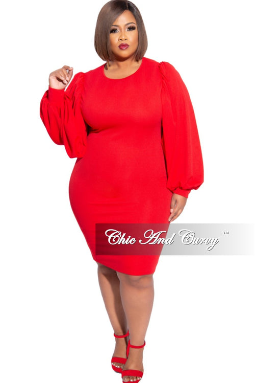 New Plus Size Balloon Sleeve BodyCon Dress in Red
