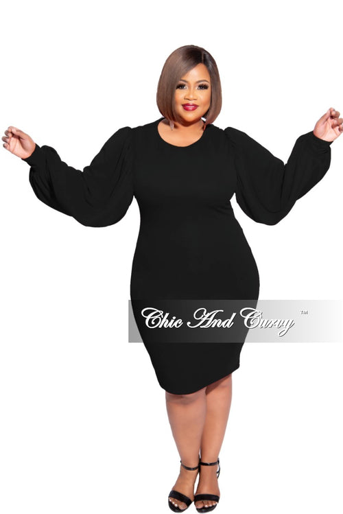 New Plus Size Balloon Sleeve BodyCon Dress in Black