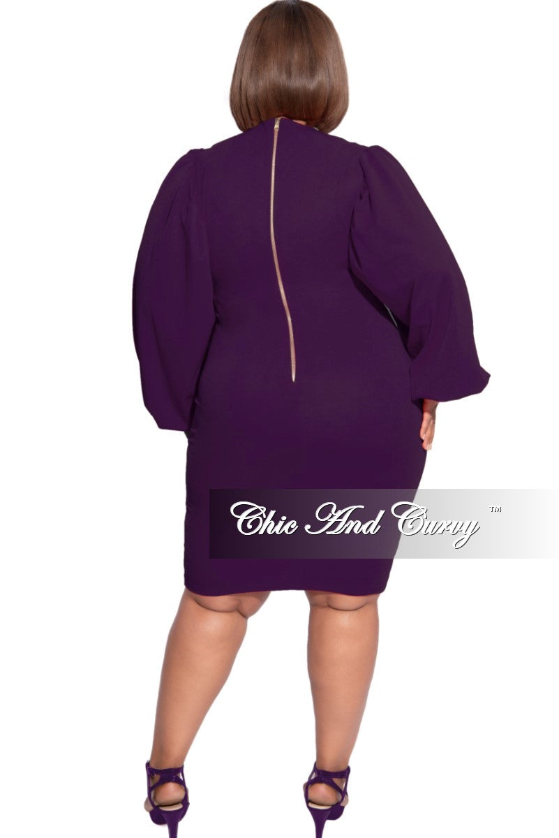 New Plus Size Balloon Sleeve BodyCon Dress in Plum