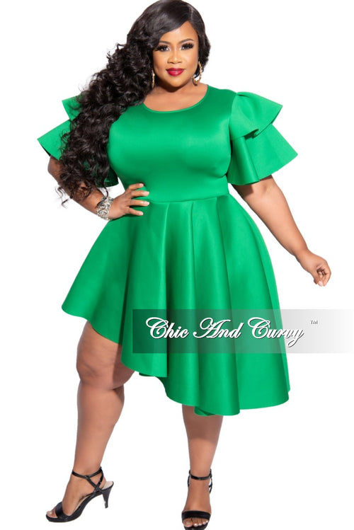 Final Sale Plus Size Ruffle Sleeve Asymmetric High-Low Dress in Green Scuba