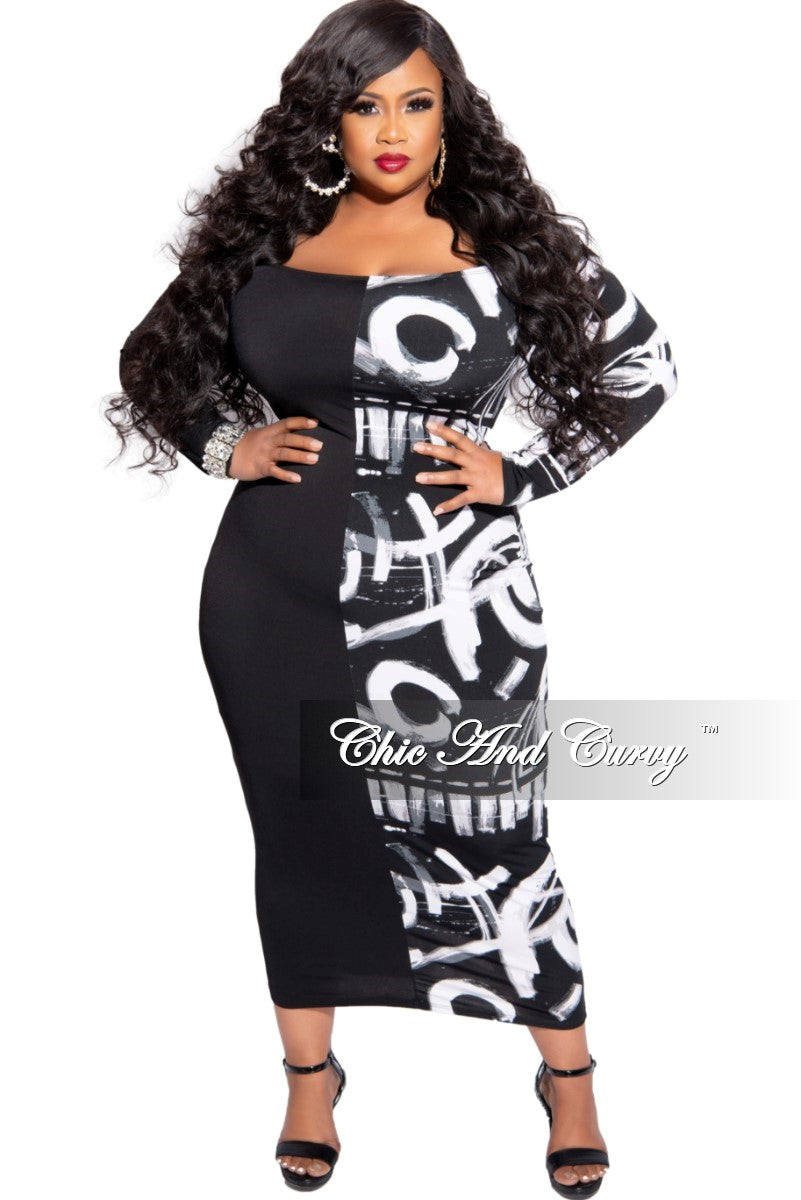 New Plus Size Off the Shoulder BodyCon Dress in Half Black and Half Paint Print