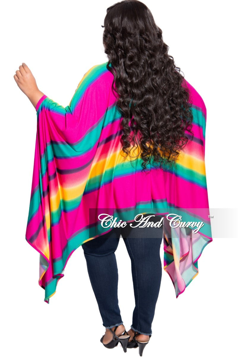 Final Sale Plus Size Oversized High-Low Top in Multi-Color Striped Print
