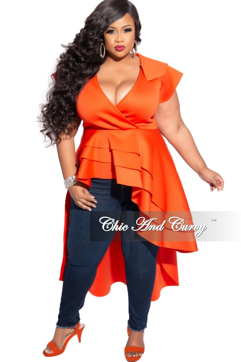 Final Sale Plus Size Flap Collar Asymmetric Peplum Scuba Top in Orange
