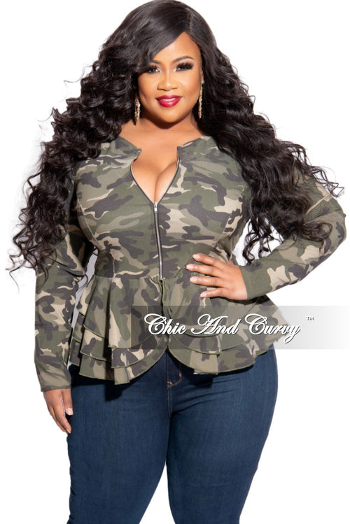 New Plus Size Peplum Jacket with Tie in Camouflage Print