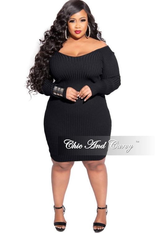 New Plus Size 2-Piece Ribbed Top and Skirt Set in Black