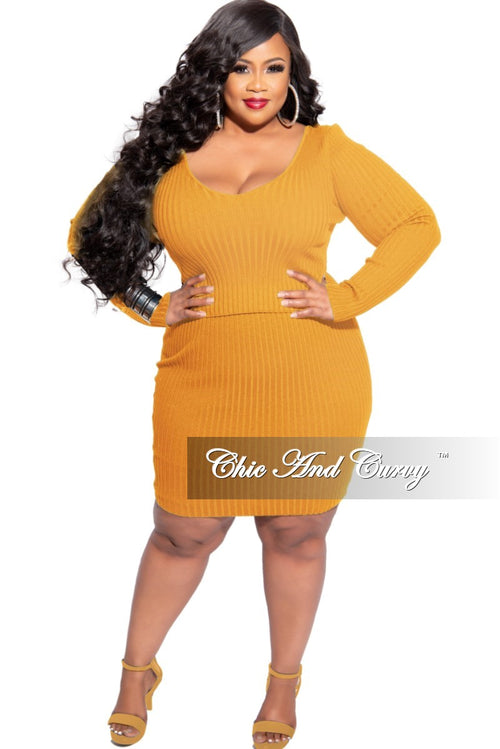 New Plus Size 2-Piece Ribbed Top and Skirt Set in Mustard