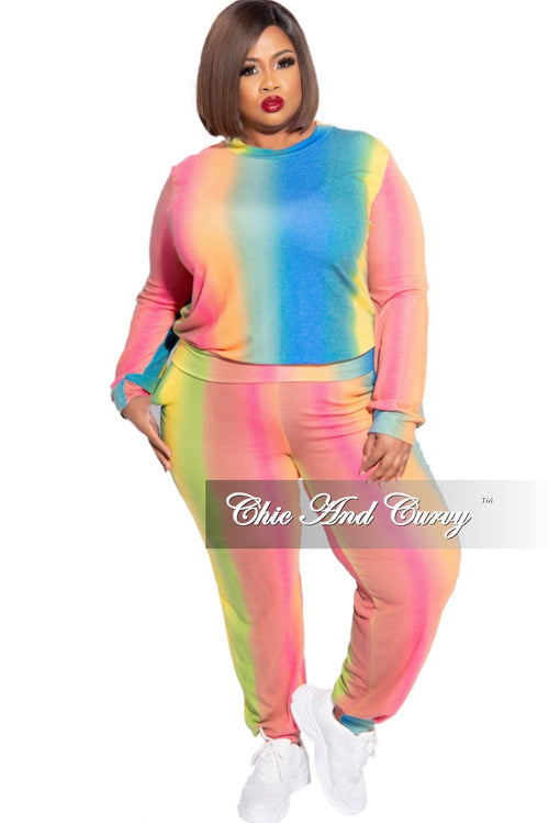 New Plus Size 2-Piece Jogger Set in Rainbow Colors