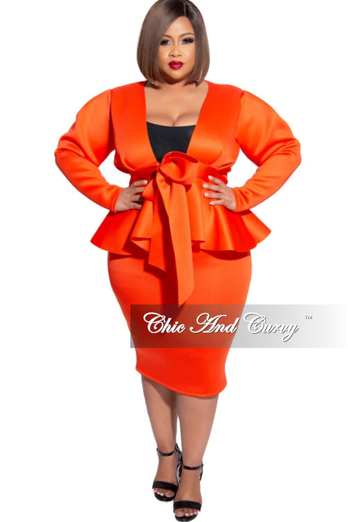 New Plus Size 2pc Scuba Tie Peplum Top and Pencil Skirt Set in Burnt Orange