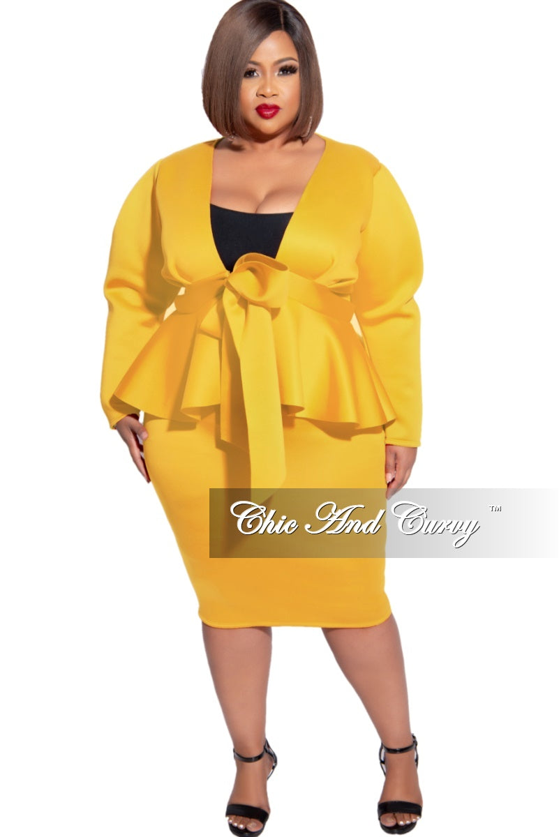 New Plus Size 2pc Scuba Tie Peplum Top and Pencil Skirt Set in Mustard