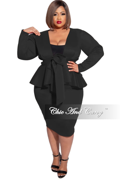 New Plus Size 2pc Scuba Tie Peplum Top and Pencil Skirt Set in Black